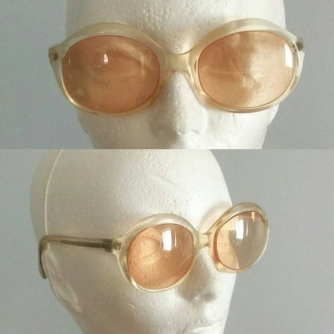 Vintage eyeglasses, clear lucite and pink prescription glasses