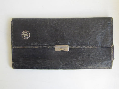 Antique leather travel folder, glove storage, Monogrammed HIM / HMI / IMH