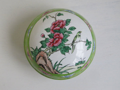 Chinese cloisonne box, Canton metal enamel box, handpainted vintage storage pot, famille verte jewelry trinket powder pot