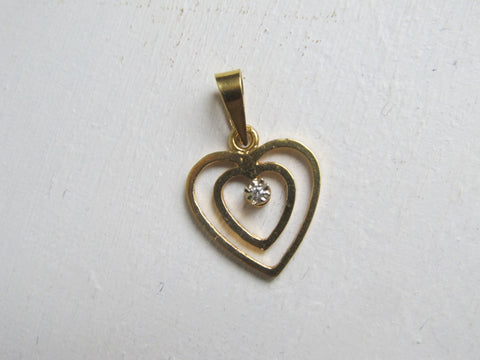 Gold heart pendant charm, delicate vintage 14k 14 carat gold fine jewelry, Valentines day gift for girlfriend, gift for wife, gift sister