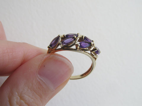 Amethyst gold ring, 9 carat 9K gold multi-stone purple cocktail ring, February birthstone, UK size P / US size 7.5