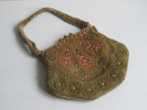 Antique French handbag, Belle Epoque era rare collectible purse, velvet top handle bag, soft pink green faux seed pearls ormulu frame