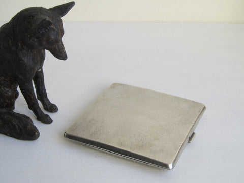 Silver card case, Sterling Art Deco engine turned business card case, solid hallmarked silver, industrial cigarette case, business card case