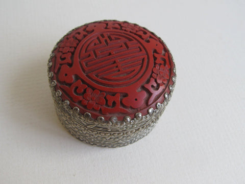 Cinnabar lidded Chinese patch box, rouge pot, jewelry trinket travel box, jewelry storage home decor