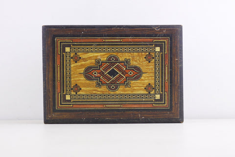 Vintage wooden box with geometric pattern to the lid, celtic infirnity knots, handpainted wooden box, trinket or jewelry box, desk tidy