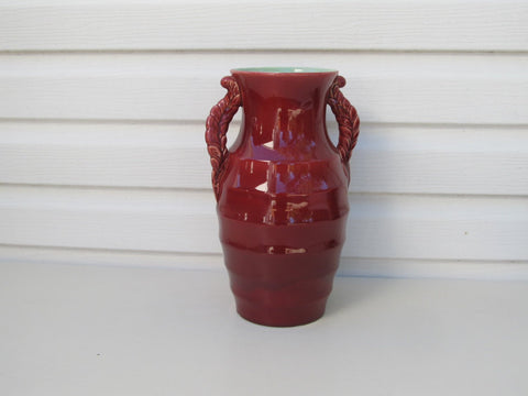 Red art deco vase, 1920's-1930s ceramic art pottery vase, by 'Shorter', Shorter and Son England, mint green glazed inside