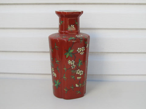 Vintage red vase, ACF Japanese porcelain ware, quatrefoil dark red vase with cherry blossom, plum blossom, decorated in Hong Kong
