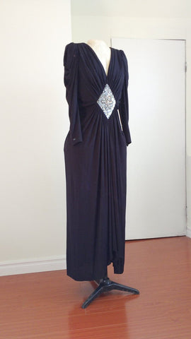 Black full length evening gown, prom dress, EU size 42