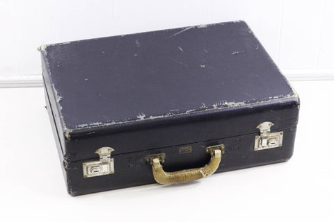 Black vintage suitcase, 1930s Travelite by Carson wooden suitcase, very worn /w ton of character
