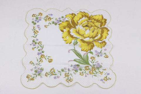 Vintage handkerchief with yellow carnations, delicate cotton 1940s 1950s ladies handkerchief, collectible hankie hanky