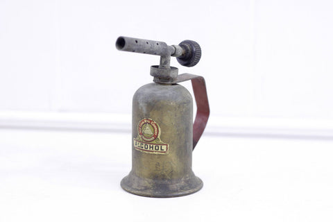 Antique alcohol burner, rusty mantique, collectible vintage tools, rustique man cave decor, the Lenk mfg company, newton mass.