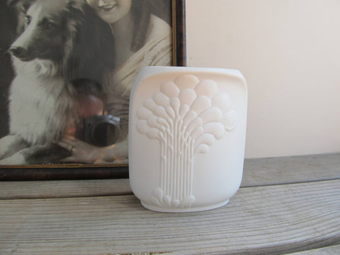 Small Kaiser Germany vase, squared pattern 668, signed M Frey, white bud vase, vintage home decor
