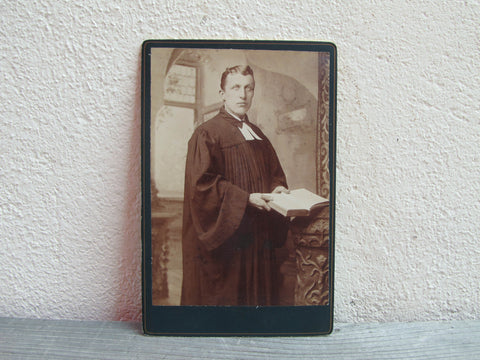 Antique cabinet card of a priest by A Hillman