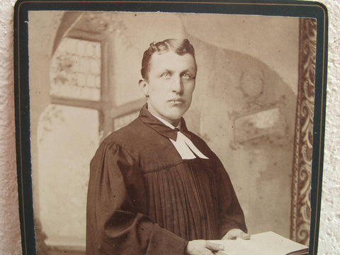 Antique cabinet card of a priest - evil priest - black and white photograph, original photo, religious image by A Hillman