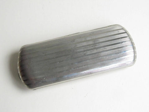 Antique eye glasses case, engine turned aluminium silver coloured metal case
