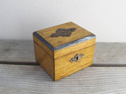 Antique wooden money box dated 1865