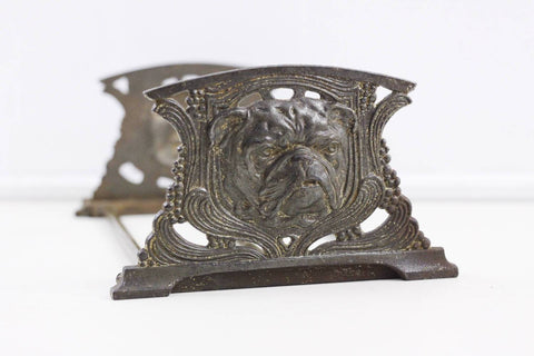 Antique art nouveau Judd expanding bookshelf in form of English Bulldogs
