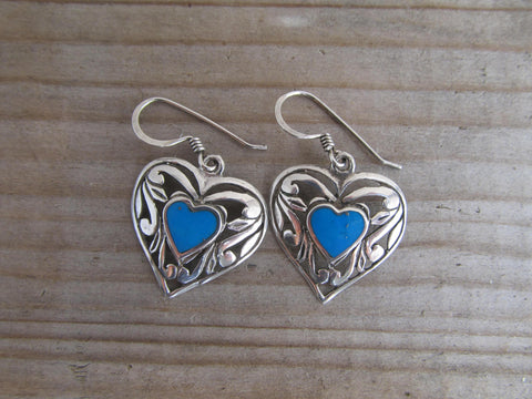 Sterling silver heart earrings set /w turquoise centres, silver and blue vintage jewelry, boho festival drop earrings, romatic gift for her