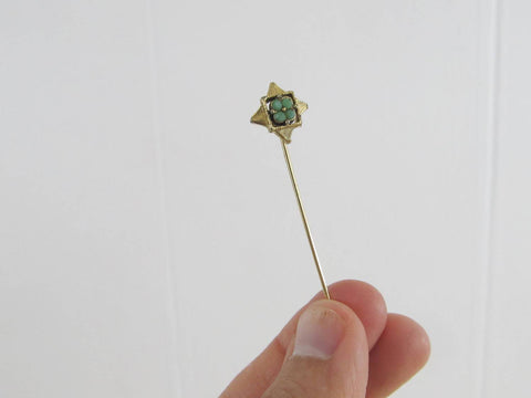 Lucky clover stickpin, green four leaf clover in star stick pin, Irish themed gold toned lapel pin, St Patricks Day tie pin,