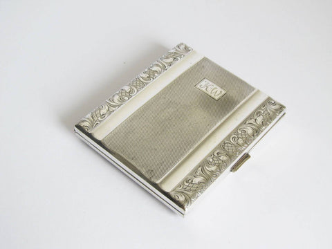Alpacca business card case, silver plated cigarette case, German silver metal pocket storage box, hinged metal smoking case initialled K.W.