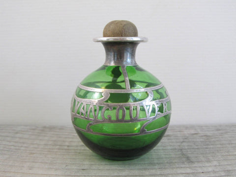 Antique art nouveau silver overlay green glass Vancouver perfume bottle or ink bottle