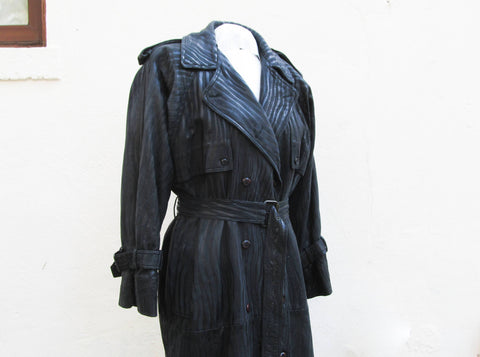 Black leather trench coat by Originaux Par Pablo - 2 toned leather trenchcoat in great condition
