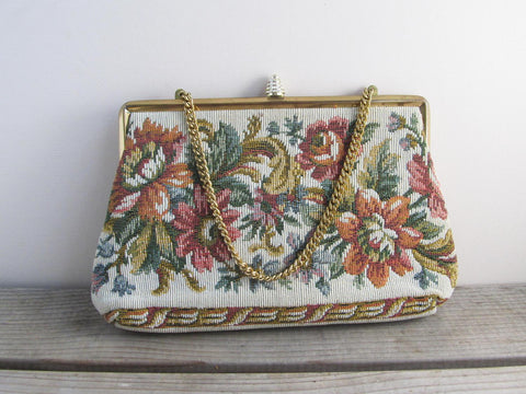 Needlepoint purse by Verdi USA, vintage petit point ladies handbag, tapestry bag, floral purse