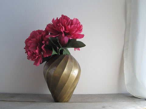 Solid brass vase with swirl pattern, rustic brass planter, vintage patinated brass vase