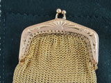 Antique gold plated mesh purse, chain mail coin purse