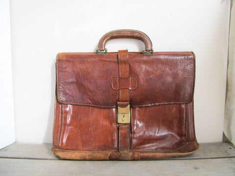 Vintage leather laptop bag, brown leather bag, soft sided briefcase attache, genuine leather laptop sleeve, notebook bag, student satchel