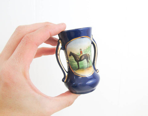 Miniature art nouveau vase, hand painted vase with picture of a jockey, horse racing collectible, cobalt blue vase, double handled vase