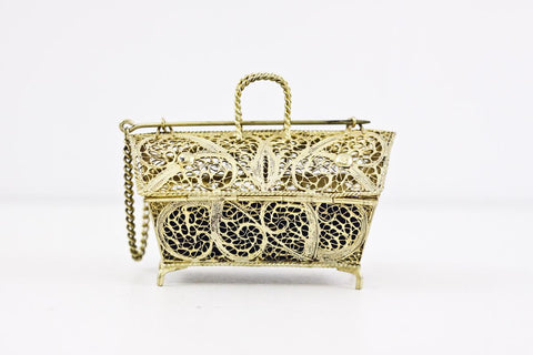 Filigree gilt wedding casket, gold plated wire jewelry box, gold casket, Portugese filigree trinket box, double ring box, ringbearer box