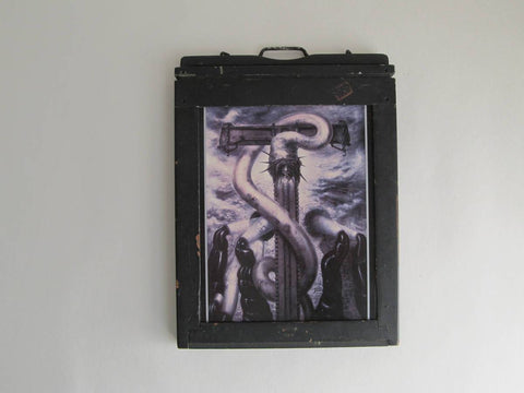 Framed Giger Tarot card 'The Hierophant' wall art, occult art, wiccan gothic horror art