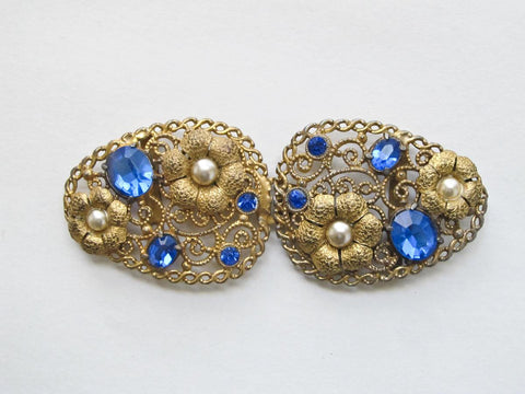 Art nouveau belt buckle in gold and blue, vintage Cannetille buckle