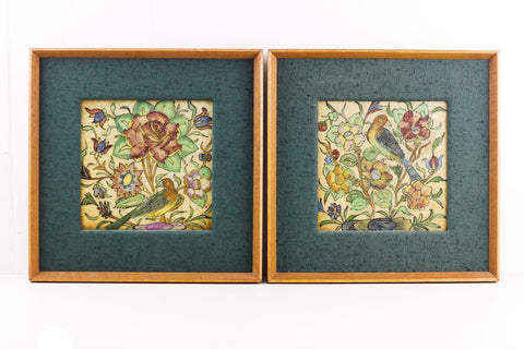Antique framed tiles Taormina Sicily, Large antique maiolica tile with birds and flowers