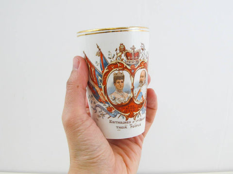Antique coronation mug of Edward VII, British Royalty collectable Coronation cup, souvenir cup 1902