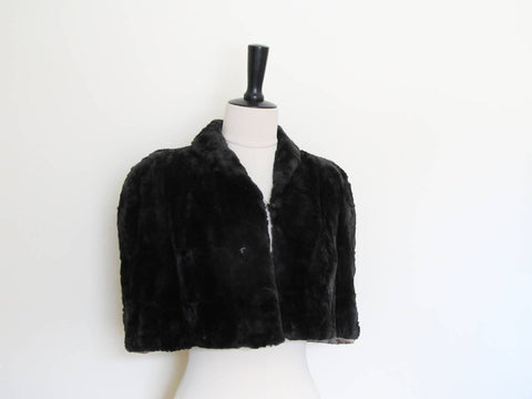 Art deco Scotch Mole black fur cape 1910-1930s