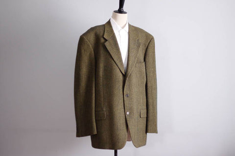 Vintage Abraham Moon wool blazer, lambswool jacket, green herringbone Italian mens jacket