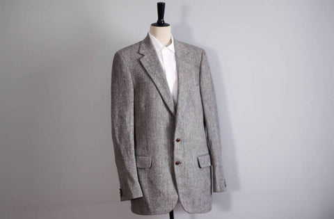 PBM Harris tweed jacket mens, soft grey jacket, vintage scottish wool blazer, hunting jacket, made in usa