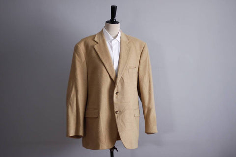 Botany 500 Camel Hair mens coat size 46 short, vintage tan blazer, business jacket, fashion coat