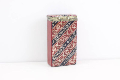 Faux leather cigarette case, red and black tooled card case, business card case, vegan leather box