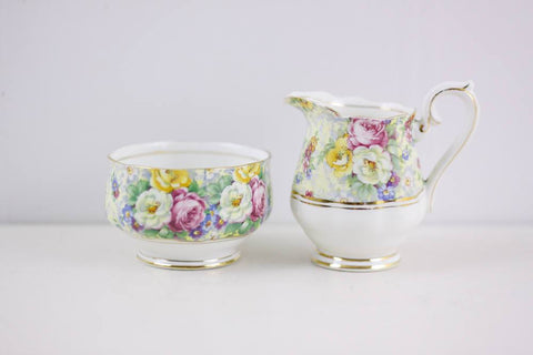 Rosetime Chintz sugar and creamer by Royal Albert