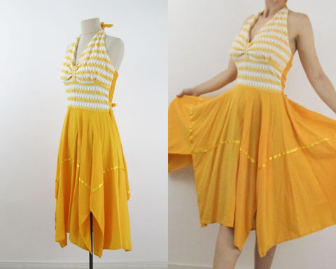 Saffron yellow halterneck sundress size L