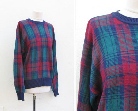 Hong Kong oversized sweater, vintage tartan ugly sweater