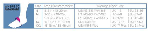 os1st fs6 foot compression sleeve size chart