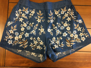 Embroidered Shorts with White & Blue Flowers