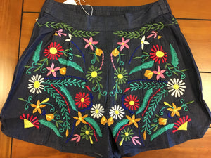 Embroidered Shorts with Multi Color Flowers