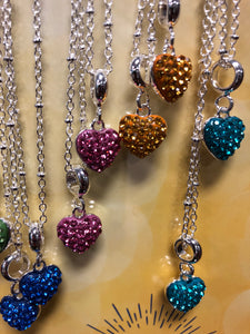 Crystal Heart Birthstone Necklaces