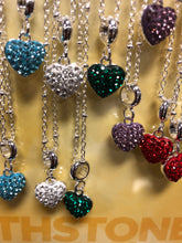 Load image into Gallery viewer, Crystal Heart Birthstone Necklaces