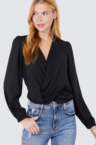 V-neck Surplice Woven Top